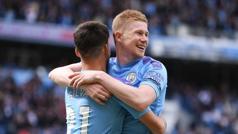 Kevin De Bruyne celebrates his first goal of the season against Brighton