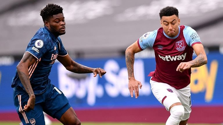 West Ham United v Arsenal - Premier League - London StadiumWest Ham United's Jesse Lingard (right) and Arsenal's Thomas Partey battle for the ball during the Premier League match at the London Stadium, London. Picture date: Sunday March 21, 2021.