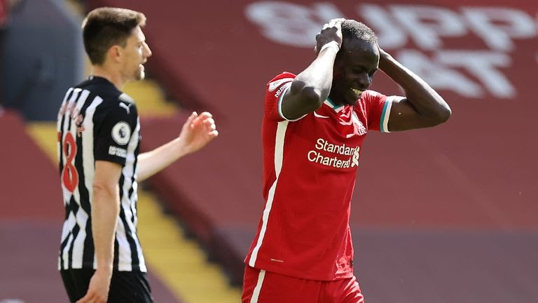 Sadio Mane reacts after missing a chance for Liverpool against Newcastle